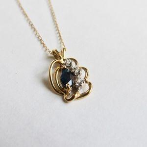 Jewelry - 14Kt. Yellow Gold Diamond Blue Sapphire Pendant